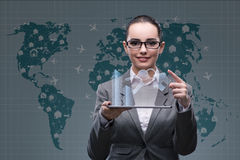 The businesswoman with tablet in hotel booking concept Royalty Free Stock Images