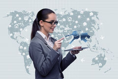 The businesswoman with tablet in hotel booking concept Royalty Free Stock Photography