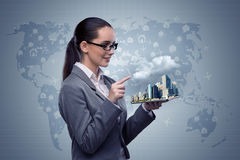 The businesswoman with tablet in hotel booking concept Royalty Free Stock Image