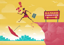 Businesswoman takes a Dangerous Career Path Choice. Royalty Free Stock Images