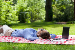 Businesswoman taking a break from work outdoors Royalty Free Stock Photo