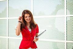 Businesswoman taking the desicion Stock Images