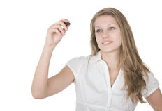 Businesswoman taking note Stock Photo