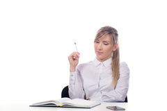 Businesswoman  taking notes. Portrait of smiling  business woman, isolated on white background Stock Photography