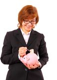 Businesswoman taking out fifty euro with tweezers piggy bank Stock Photos