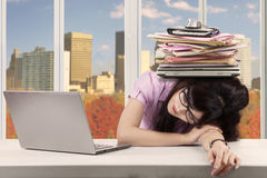 Businesswoman taking rest in the office Stock Images
