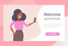 Businesswoman taking selfie photo smartphone camera happy business woman using mobile application cartoon character royalty free illustration