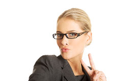Businesswoman taking selfie Royalty Free Stock Photography