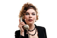 Businesswoman taking telephone call in office Stock Images