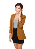 Businesswoman talk to cellphone Royalty Free Stock Photography