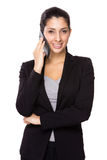 Businesswoman talk to mobile phone Stock Photos