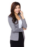 Businesswoman talk to mobile phone Stock Photos