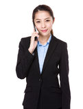 Businesswoman talk to phone Royalty Free Stock Photos