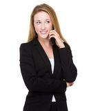 Businesswoman talk to phone Royalty Free Stock Photography