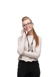 Businesswoman talking on cell phone Stock Photos
