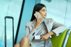 businesswoman talking cell phone Stock Photos