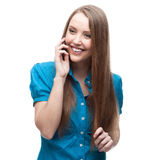 Businesswoman talking on cell phone Royalty Free Stock Photography
