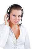 Businesswoman talking on headset Stock Photography