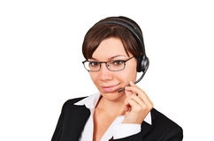 Businesswoman talking on headset Royalty Free Stock Images