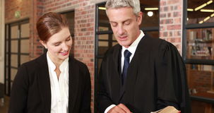 Businesswoman talking with her lawyer. In office stock footage