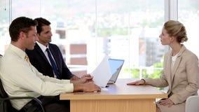 Businesswoman talking during a job interview