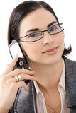 Businesswoman talking on mobile Stock Photo