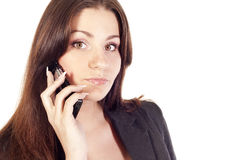 Businesswoman talking by mobile Stock Photo