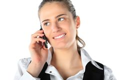Businesswoman talking on mobile phone Stock Photos