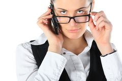 Businesswoman talking on mobile phone Royalty Free Stock Photography