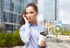 Businesswoman talking on the mobile phone Stock Photography