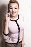 Businesswoman talking on mobile phone smartphone Stock Image