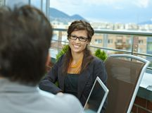 Businesswoman talking outdoor Royalty Free Stock Image
