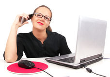 Businesswoman talking by phone stock images