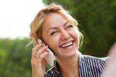 Businesswoman talking on the phone Stock Photos