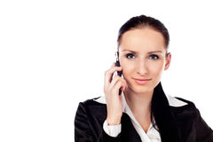 Businesswoman talking on the phone. Isolated Royalty Free Stock Photo