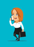 Businesswoman talking on smartphone and making a deal  illustration Stock Photo