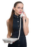 Businesswoman talking on telephone. Isolated Royalty Free Stock Photo