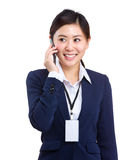Businesswoman talking to mobile Royalty Free Stock Photography