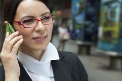 Businesswoman Talking Via Mobile Royalty Free Stock Images