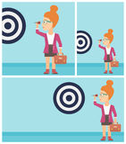 Businesswoman and target board vector illustration Stock Images