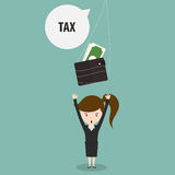 Businesswoman with tax bubble. Royalty Free Stock Photo