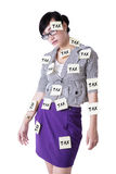 Businesswoman with tax reminders Stock Photography
