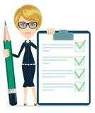 Businesswoman or Teacher Holding a Paper With Royalty Free Stock Images