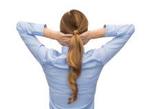 Businesswoman or teacher in shirt from back Royalty Free Stock Photo