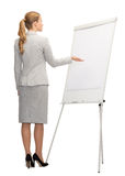 Businesswoman or teacher with whiteboard from back Stock Photography