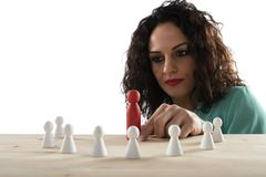 Businesswoman team leader thinks about the strategy of company team. Businesswoman team leader thinks about the strategy of team resource royalty free stock photo