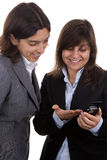 Businesswoman with team partner with mobile phone Royalty Free Stock Photography