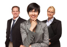 Businesswoman with Team Portrait on White Stock Image