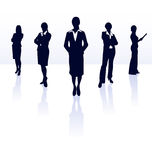 Businesswoman team working silhouette sihlouettes business woman person briefcase standing worker vector people meeting isolated Royalty Free Stock Image