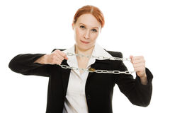 Businesswoman tearing the chain hands Stock Photography